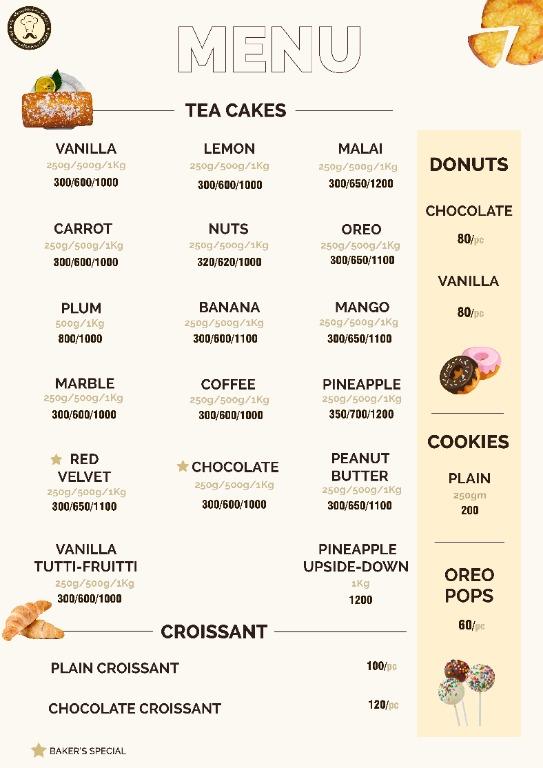 Mr Moustaches Cakes menu 2