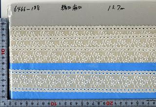 Photo: №6466-138綿50麻50レース:巾40mm