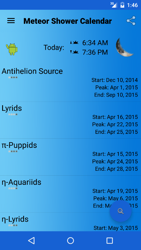 Calendar Mysteries April Adventure Quiz : Meteor shower calendar android apps on google play