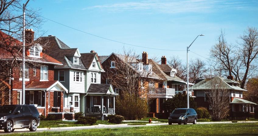 Inner city Detroit houses on the east side of town
