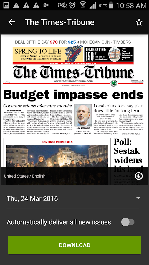 Times Tribune- screenshot