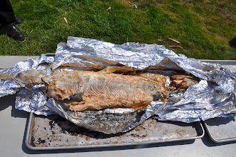 Photo: salmon cooked in the pit , wrapped in foil