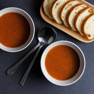 Slow-roasted Roma tomato soup.