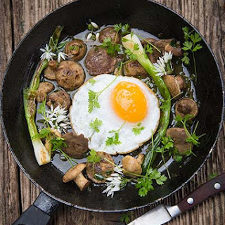 St George's mushrooms recipe, with sherry sauce and fried duck egg.