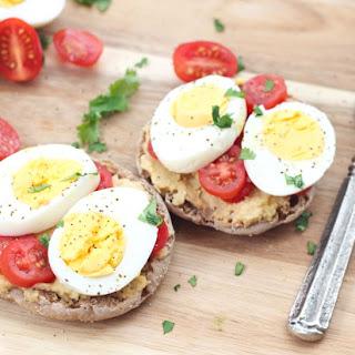 Open-Faced Egg and Hummus Breakfast Sandwich.