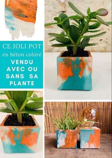 plante en pot design béton marbré