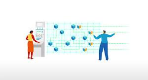 Ilustración de dos personas delante de un diagrama de flujo de trabajo