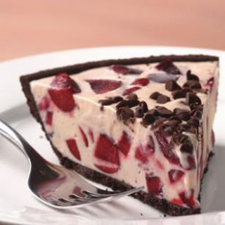 Cherry Ice Cream Pie With Chocolate Cookie Crust.