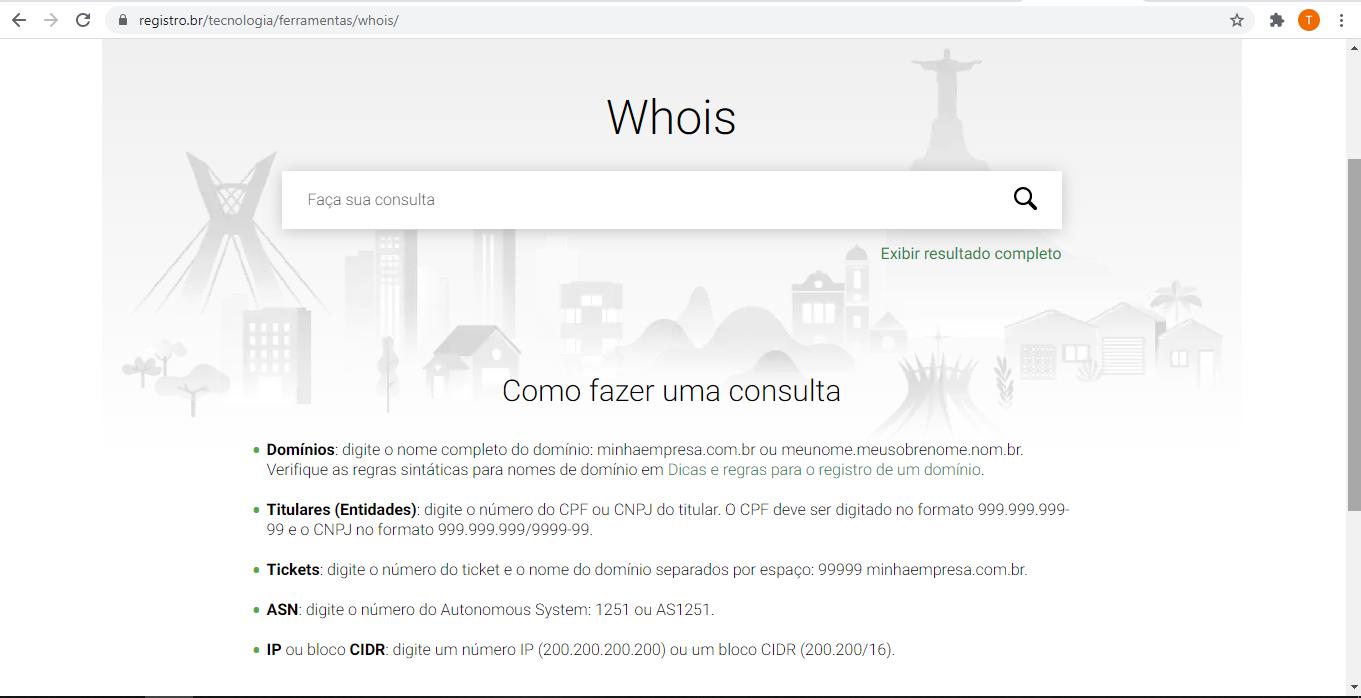 WhoIs do site Registro.br