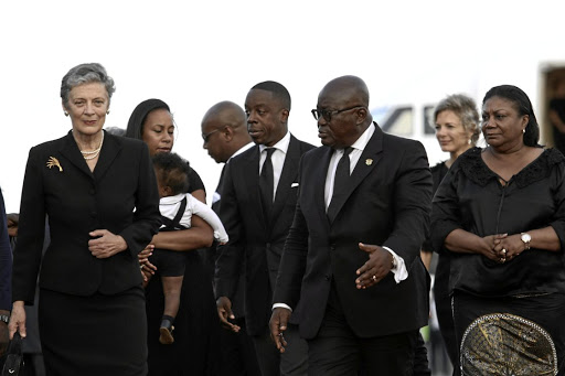 Ghana's President Nana Akufo-Addo directs Nane Maria Annan, wife of the former UN secretary-general Kofi Annan, who died in Switzerland, as she arrives with her husband's casket ahead of a state funeral at the Jubilee Airport in Accra, Ghana September 10 2018. Picture: REUTERS/Francis Kokoroko