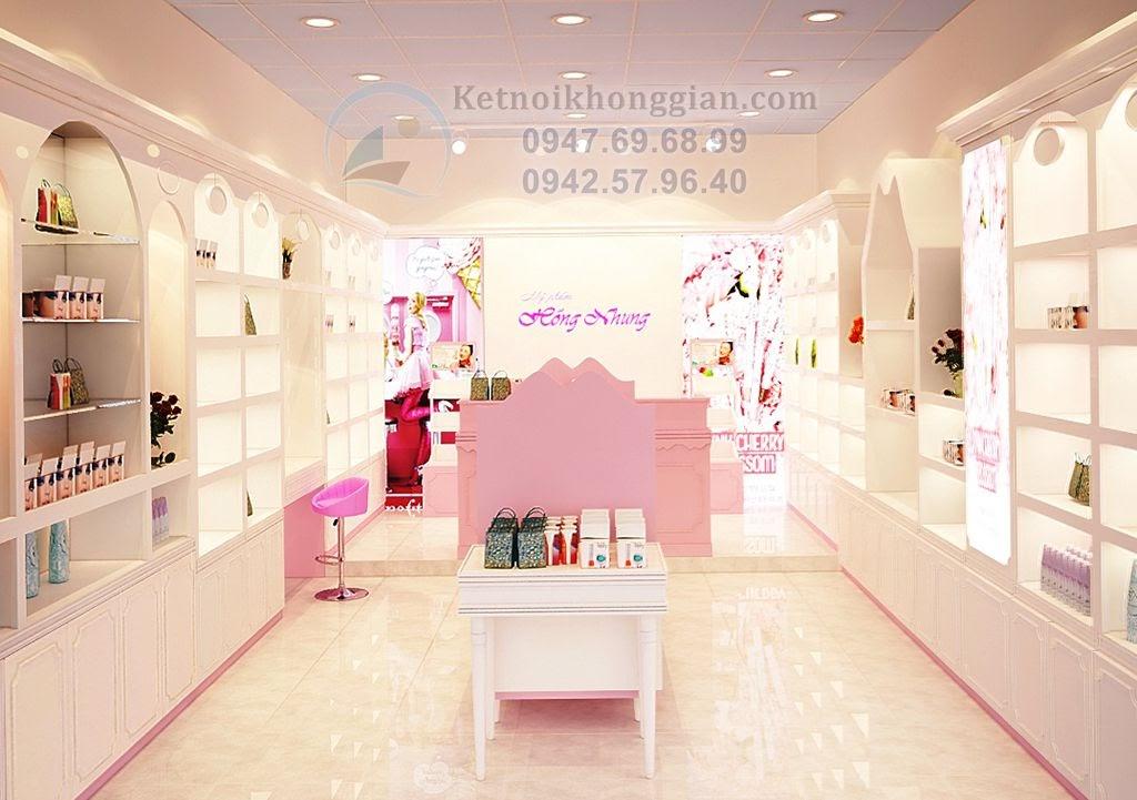 thiết kế shop mỹ phẩm trắng hồng