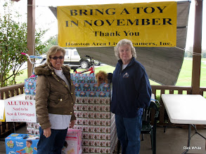 Photo: Donna Greene and Letha Grace McCoy collecting Toys for Tots.     HALS Run Day 2009-1121