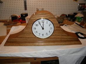 Photo: A mantle clock for a friend, English oak.