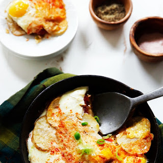 Tomato, Potato, & Leek Gratin with Eggs