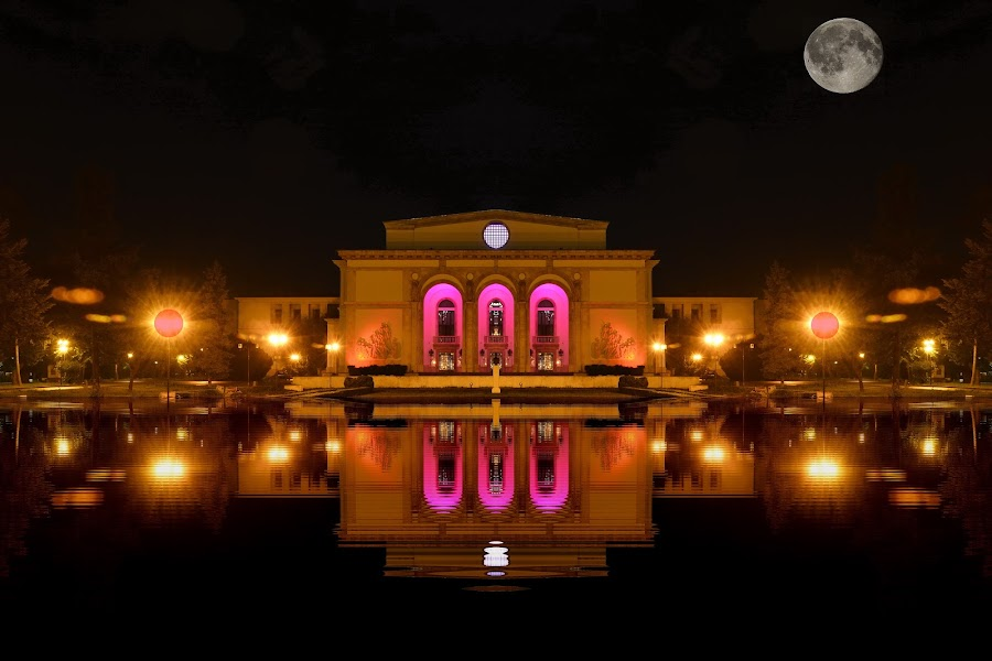 by Sorin Lazar Photography - Buildings & Architecture Architectural Detail ( lights, water, moon, reflection, bucharest, waterscape, buildings, architectural, night, romania, architecture, cityscape, city )