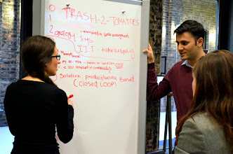 Photo: Photo credit: Liana Sonenclar  Trash-To-Tomatoes team planning their pitch deck