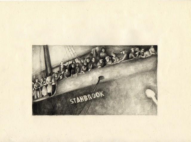 Obra de María Rosa Aránega sobre la inmigración en el Mar Mediterráneo.