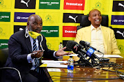 Mamelodi Sundowns coach Pitso Mosimane and Patrice Motsepe during the Mamelodi Sundowns 50th anniversary announcements in Sandton on May 21, 2020 in Johannesburg, South Africa.