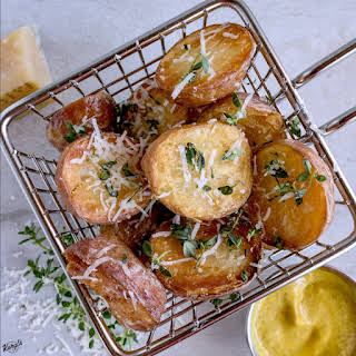 Oven Roasted Potatoes with Parmesan and Thyme.