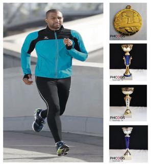 équipement sportif running, trophée athlétisme, coureur