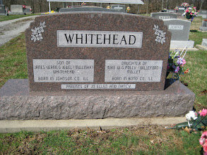 Photo: Back of Frances and Joe Whitehead's stone.