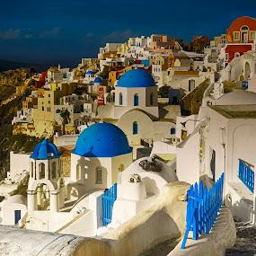 Santorini by Richard Michael Lingo - City,  Street & Park  Vistas ( hillside, vista, greece, landscape, santorini, island,  )