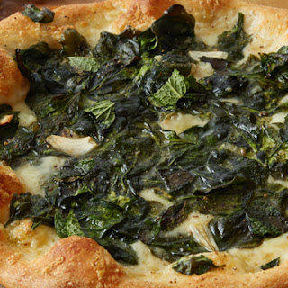 Spinach and Three-Cheese Pizza