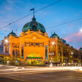 Flinders Light Trails by Phil Hanna - Buildings & Architecture Public & Historical ( icon, light trail, melbourne, sun rise, blue hour, flinders st. station, lights, light painting, australia, streaks, light trails, long exposure, pink )
