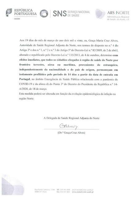 COVID19 | Determinação da Autoridade de Saúde Regional | 19/03/2020