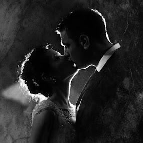 Kiss by Bojan Dzodan - Wedding Bride & Groom ( love, kiss, wedding, couple, bride, groom, black and white, b&w, portrait, people, city, photography )