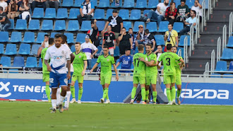 El Almería celebrando la victoria en Tenerife.