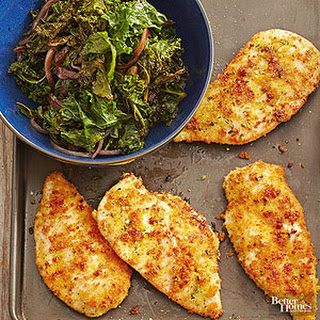 Corn Bread Chicken with Kale.