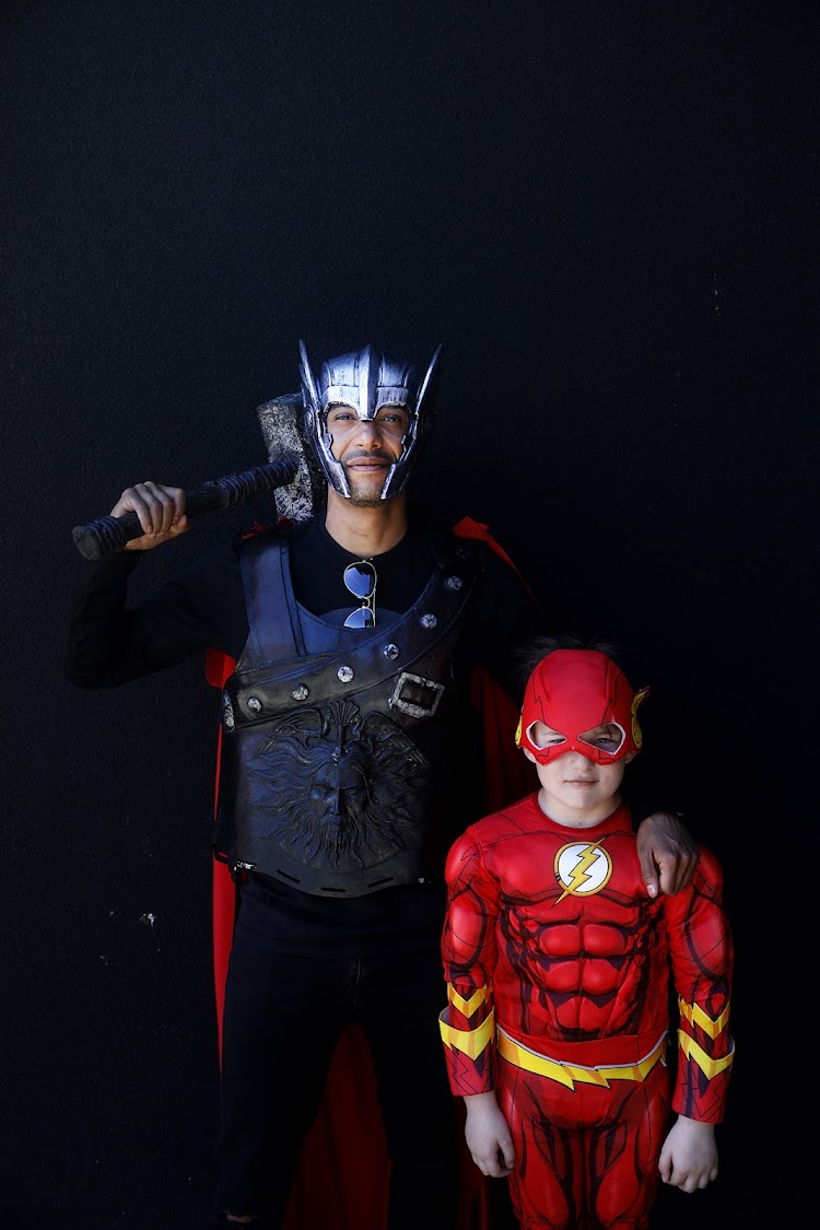 Mike Wegner as Thor and Miguel Goncalves as Kid Flash at Comic Con Africa 2018.