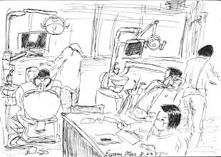 Photo: 牙診間2011.03.08鋼筆 監獄現在聘的這位牙醫用心多了,不像以前那位經常搞烏㡣的老牙醫,壞牙沒拔卻誤拔了旁邊的好牙,被收容人抗議時還理直氣壯地說:「多拔的這顆我又不算你錢!」