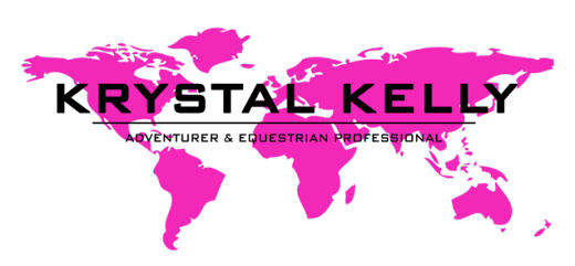 map of the world krystal kelly adventurer and equestrian professional logo