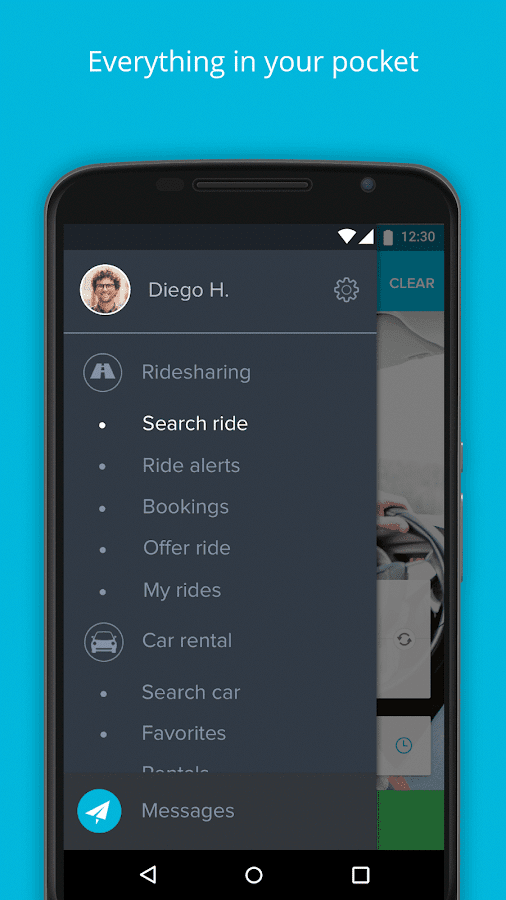 Amovens ridesharing/car rental- screenshot