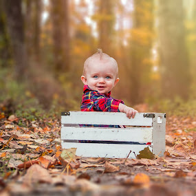 Fall baby by Jenny Hammer - Babies & Children Babies ( fall, leaves, baby, autumn, cute, boy, colors, adorable )