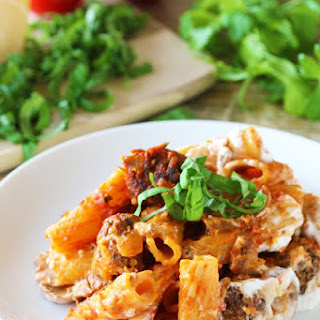 Baked Ziti with Mushrooms and Meatballs.