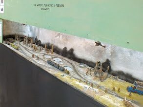 Photo: 111 An overall view of the cold, war ravaged part of the Wipers Fish Hook and Menin Railway modelled by Matt Wildsmith .