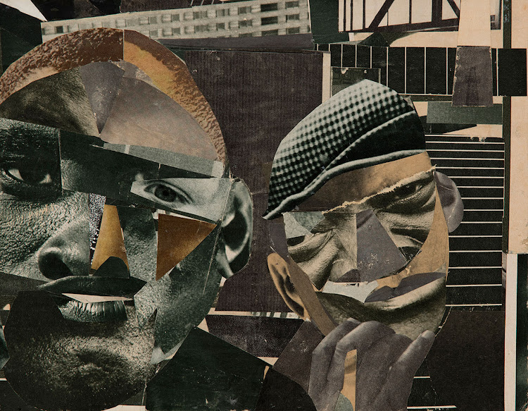 Romare Bearden (1911 - 1988). Mixed media collage of various printed papers and graphite on board 216 x 298 mm