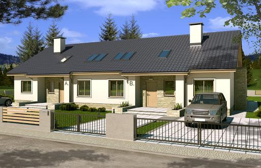 projekt Małgosia bliźniak wersja A bez garażu, parterowa, z wykuszem