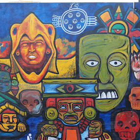Aztec Billboard by Bill Steffler - City,  Street & Park  Street Scenes