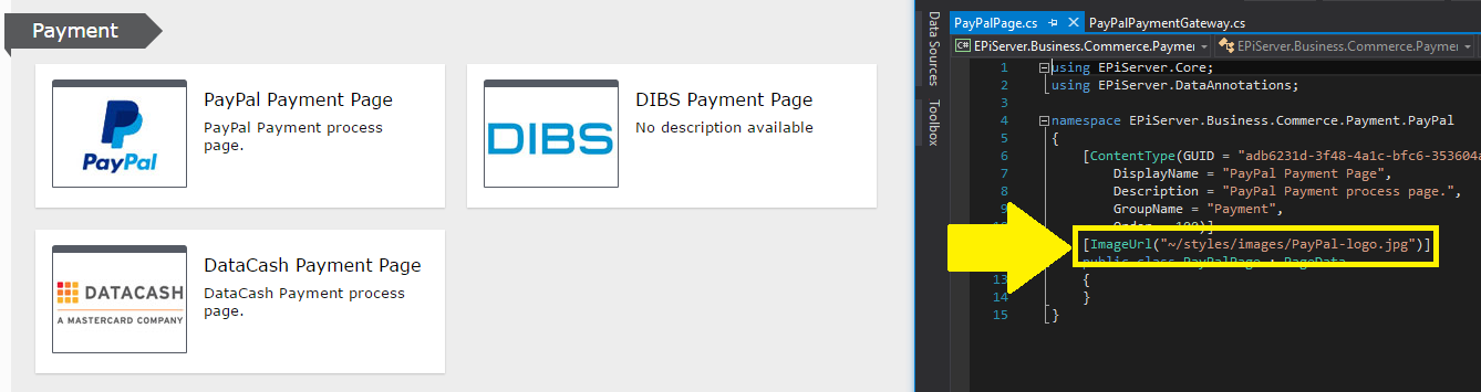 Payment page type logo