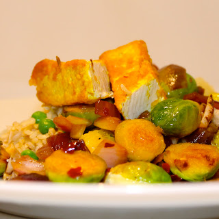 Sauteed Brussel Sprouts with Red Onion and Tofu