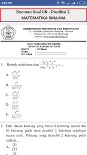 Bocoran Soal Matematika UN/UNBK SMA Terbaru 2018 - náhled