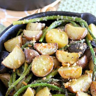 Parmesan Crusted Potatoes And Asparagus.