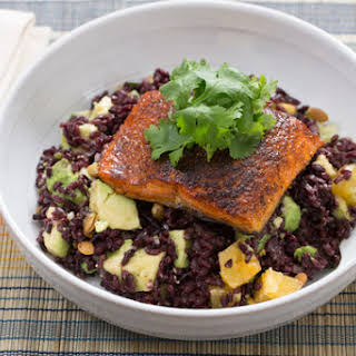 Mexican Spiced Salmon with Black Rice, Avocado & Orange Salad.