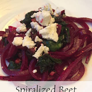 Spiralized Beet Noodles With Goat Cheese And Walnuts.