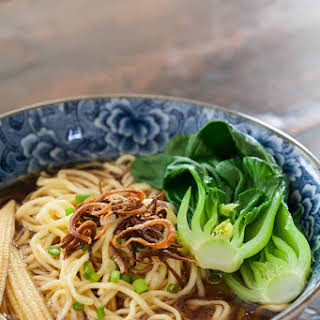 Noodles Soup with Baby Bok Choy and Crispy Shallots.