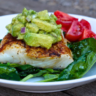 Pan Roasted Chipotle Halibut with Avocado Salsa.